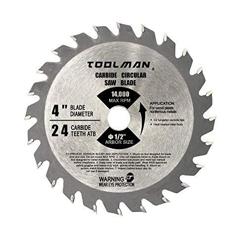 Toolman - Hoja de sierra circular universal de 10,16 cm 24T Mini Cabride Tripped Mighty-Mite Blade 1/2' 14000 RPM funciona con DeWalt Makita Ryobi