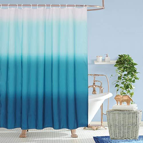 HAOCOO Ombre Duschvorhang mit Farbverlauf Blau Stoff Duschvorhang mit Haken Modern Chic Duschvorhänge Wasserdicht Schwere Duschvorhang-Sets Badezimmer Zubehör-Sets (183,9 x 183,9 cm)