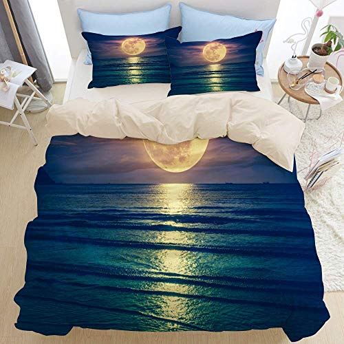 1203 beige Duvet Cover Set,Colorful sky with cloud and bright full moon over seascape in the evening,Microfibre Duvet Cover Set 200x200cm with 2 Pillowcase 50x80cm