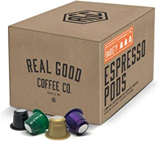 Real Good Coffee Co Variety Pack Nespresso Pods, 36 Count, Recyclable Single Serve Espresso Pods for Nespresso OriginalLine Brewers