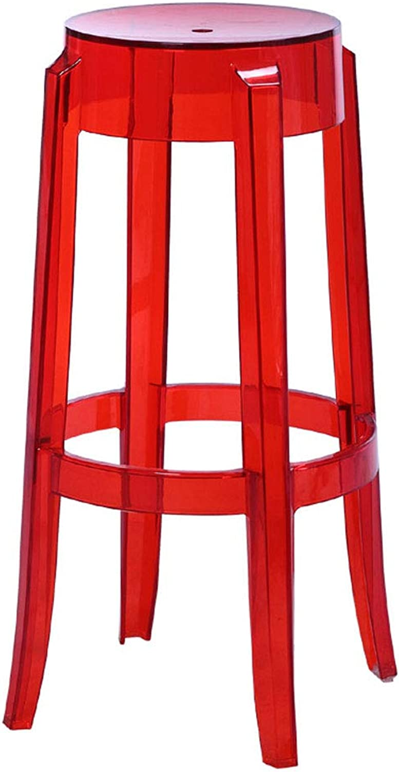 CJH 65cm Transparent Red Plastic Stool Thickened Acrylic Dining Chair Crystal Stool Bar Stool Home Chair Creative High Stool High Stool