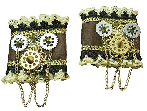 Jacobson Hat Company Halloween Costume Accessory - Suede Steampunk Wrist Cuffs