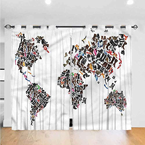 "AbstractBedroom curtains living room curtains kitchen curtains office curtains 3D Pattern Print Curtain Home Decoration World Map with Shoes The best choice for bedroom and living room W96"" x L108"""