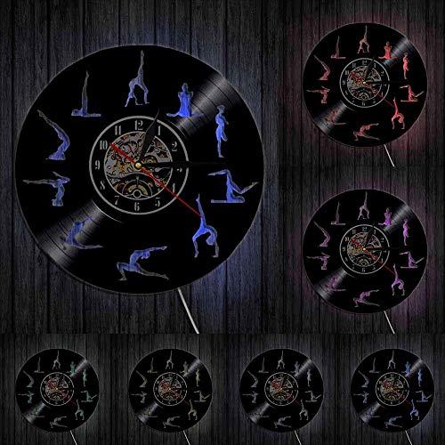 Om Yoga Studio Reloj de pared Gimnasia Vinilo Record Reloj de pared Zen Meditación Diseño Moderno Reloj Decorativo Yogi Regalo Para Niña Luces LED