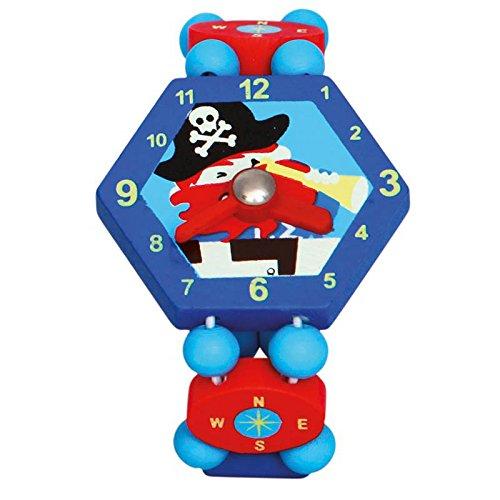 BINO 9086037 - houten klok piraat, blauw