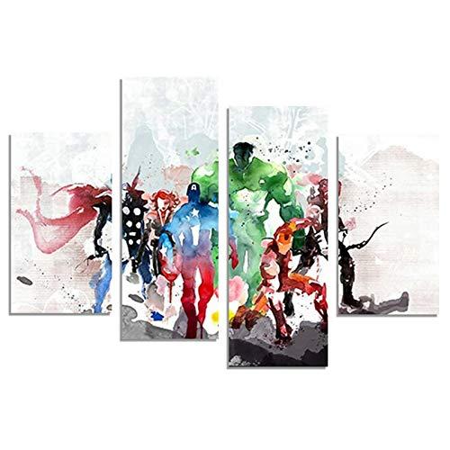 H.COZY FCR20 Lienzo decorativo, pintura de pared de arte moderno, con diseño de The Avengers, 4 piezas, sin marco, para pared de sala, 122 cm x 71 cm