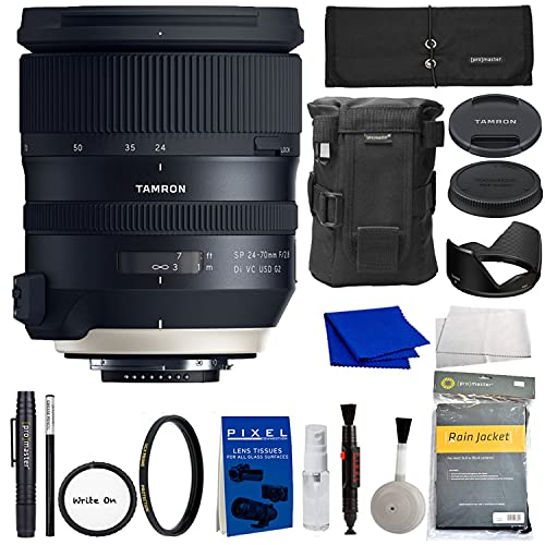 Tamron SP 24-70mm f/2.8 Di VC USD G2 Zoom Lens for Nikon F DSLR Cameras (Tamron 6 Year Limited USA Warranty) with Protection Filter, Lens Case, Accessory Rollup (AFA032N-700)| Nikon 24-70mm f2.8 lens.