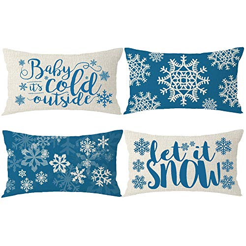 Bnitoam Set of 4 Merry Christmas Greetings Snowflake Let It Snow Best Gift for Holiday Lumbar Cotton Linen Decorative Throw Pillow Cover Cushion Case for Outdoor Bed Sofa Family 12x20inches (Blue3)