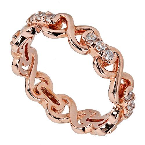 Judith Williams Touch of Diamonds Damen-Ring Infinity Unendlichkeit Sterling-Silber 925 rosévergoldet Zirkonia weiß Brillantschliff RW17