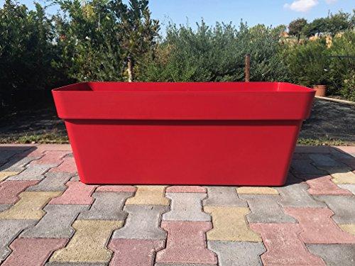 FIORIERA FIORIERE Vaso Rettangolare plastica Forte 80 CM Rosso J Modello Cleo AMDGarden