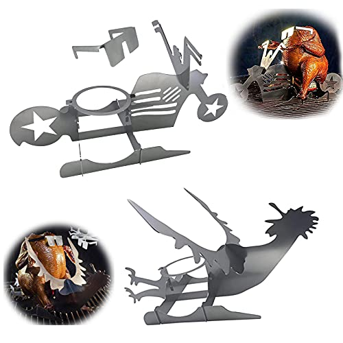 HYDM Soporte Vertical para Asar Pollo, Portable Chicken Stand Beer American BBQ Rack with Glasses, Indoor Outdoor Use Beer Chicken Roaster Stainless Steel Chicken Roasting Rack BBQ, Grill, Oven