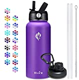 Elvira 32oz Vacuum Insulated Stainless Steel Water Bottle with Straw & Spout Lids, Double Wall Sweat-proof BPA Free to Keep Beverages Cold For 24 Hrs or Hot For 12 Hrs-Purple