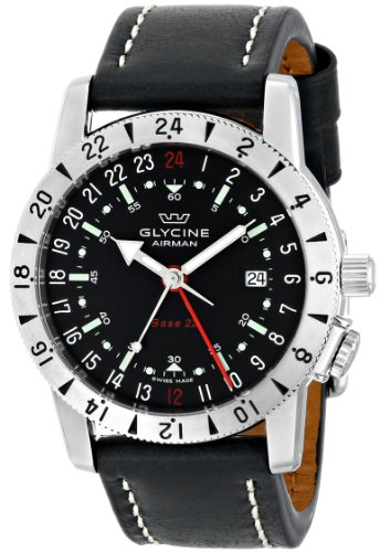 Glycine 'Airman Base 22' Stainless Steel Automatic Watch with Black Leather Band
