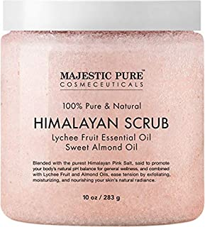 Majestic Pure Himalayan Salt Body Scrub, All Natural Scrub to Exfoliate & Moisturize Skin, 10 oz