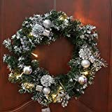 BZNHDWTO Christmas Wreath with Battery Powered LED Light String Front Door Hanging Garland Holiday Home Decorations Decorations (Color : with LED Silver1, Diameter : 40cm)