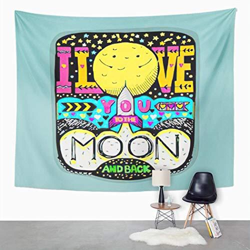 Y·JIANG Tapiz para el día de San Valentín, Día de San Valentín I Love You To The Moon and Back Home Dormitorio, tapiz grande decorativo para pared ancho para sala de estar, dormitorio, 152 x 127 cm