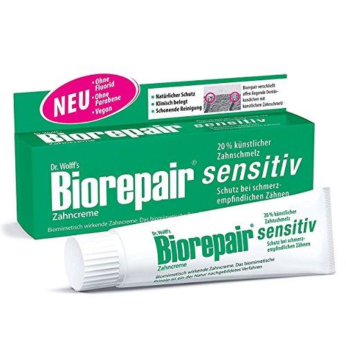 Biorepair Zahncreme sensitiv, 75ml - Ohne Fluorid und Parabene, für schmerzempfindliche Zähne, 3er Vorteilspack (3x 75ml)