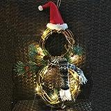 SFTYUFS Guirnalda de Navidad iluminada, 15.7 pulgadas con luces LED con sombrero y arco forma de muñeco de nieve corona para puerta delantera, decoración de pared del hogar