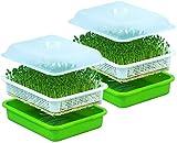 YTFR Bandeja para germinación de Semillas, sin Suelo, para Cultivo de brotes de Frijoles, Kit de Bandeja de germinación de plántulas, Apta para plantación de vivero hidropónico de Mung 2 Pack