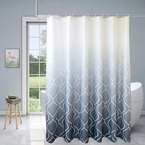 Xikaywnt Fabric Textured Moroccan Ombre Shower Curtain for Bathroom - Waterproof Bathroom Curtain with 12 Hooks, 70 x 72 Inch Grey