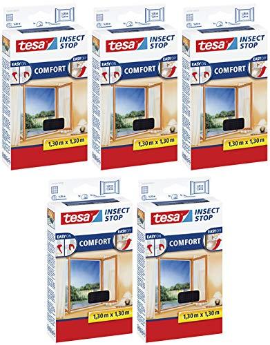 tesa Insect Stop Comfort Fliegengitter Fenster - Insektenschutz mit Klettband selbstklebend - Fliegen Netz ohne Bohren (5er Pack /130 cm x 130 cm, Anthrazit (Durchsichtig))