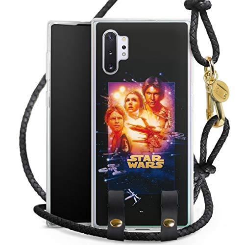 DeinDesign Carry Hülle kompatibel mit Samsung Galaxy Note 10 Plus Hülle mit Kordel aus Leder Handykette zum Umhängen schwarz Gold Star Wars Fanartikel Special Edition