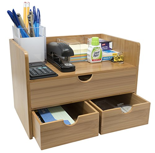 Sorbus 3-Tier Bamboo Shelf Organizer for Desk with Drawers  Mini Desk Storage for Office Supplies, Toiletries, Crafts, etc  Great for Desk, Vanity, Tabletop in Home or Office