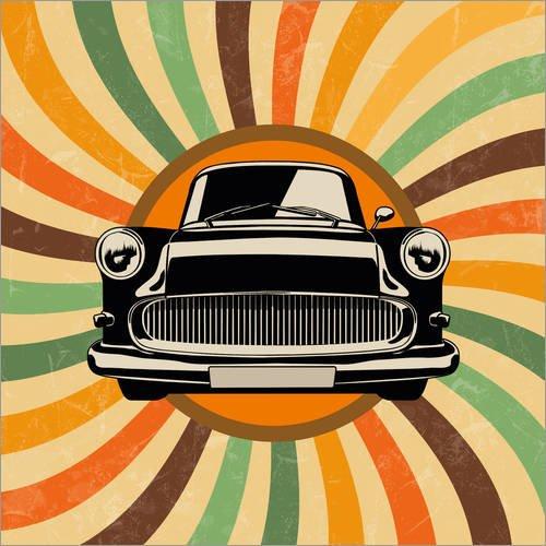 Posterlounge Acrylglasbild 50 x 50 cm: Retro Auto Oldtimer von pixelliebe - Wandbild, Acryl Glasbild, Druck auf Acryl Glas Bild