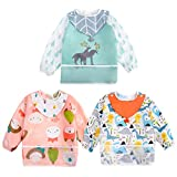 <span class='highlight'><span class='highlight'>Discoball</span></span> Baby Bibs with Sleeves - 3 Pcs Feeding Bibs with Detachable Drool Bibs Painting Bibs, Unisex Long Sleeve Bib Baby Apron Bibs for Toddlers from 6 Months to 3 Years Old