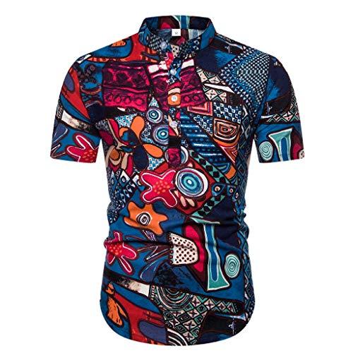 Wtouhe Herren Hemden Sommer Chic Front-Tasche 3D Druck Blumen Hemd Angenehm Zu Tragen Stoff Gute QualitäT Hawaiianischer Stil StraßEnseite Mann Freizeithemd