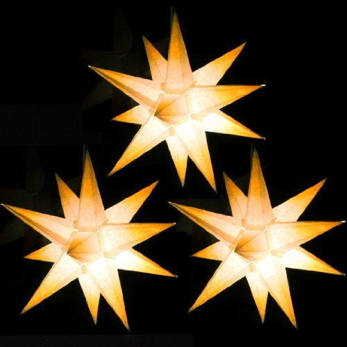 Sternschmiede DREI Papiersterne beleuchtet als Komplettset, (weiß mit gelben Spitzen, 3 Sterne)