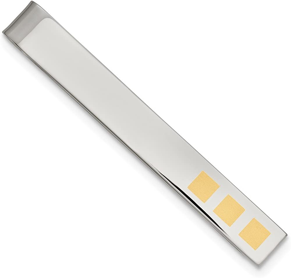 Stainless Steel Yellow IP-Plated Tie Bar - 58mm x 7mm