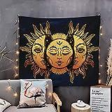 WAZA arazzo da parete mandala sole e luna arazzi di tarocchi bohémien asciugamani da spiaggia tappetini da yoga fogli da tavolo decorazione murale per soggiorno ufficio e camera da letto