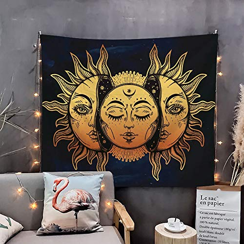 WAZA Tapiz de Pared Mandala Sol y Luna Tapices de Tarot Bohemio Toallas de Playa Esteras de Yoga Hojas de Mesa Decoración de Pared para Sala de Estar Oficina y Dormitorio - (150 x 130 cm)