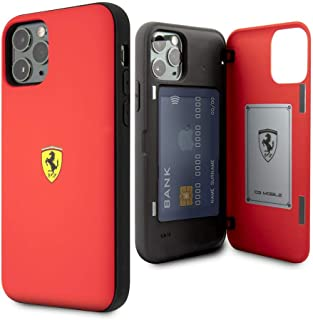 CG Mobile Ferrari Pc/TPU Hard Case for iPhone 11 Pro Cell Phone Cover with 2 Card Slots and Magnetic Closure Red Easy Snap...