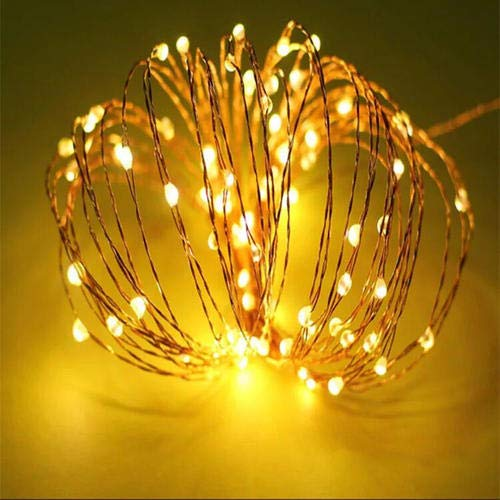 HISAFE LED String Lights 33 ft with 100 LEDs, 8 Modes with Remote, Waterproof (Copper Wire Lights, Warm White) Decor for Indoor Outdoor Party Wedding Bedroom Christmas Patio Garden