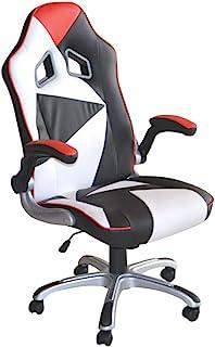 POLIRONESHOP MONTECARLO Silla sillón profesional presidential giratoria para Gaming Racing de oficina de escritorio con diferentes ajustes sillas respaldo alto color blanco-rojo-negro