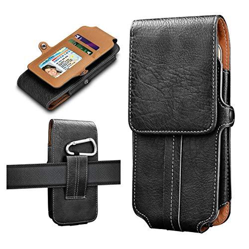 Tiflook Vertikale Handy passend für iPhone XS MAX/XS/XR/SE/8 Plus/8/7 Plus/7/6S Plus/6S/6 Plus/6/5S/5 C/5, mit Clip und Schlaufen, Leder-Handyhalterung, Gürteltasche mit ID-Kartenschlitz, schwarz