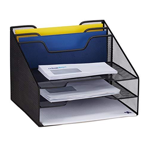 Relaxdays Dokumentenablage, Tischorganizer mit 5 Fächern, Metall, Dokumentenhalter & Briefablage, 24x32x29 cm, schwarz