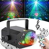 【最新版64パターン】ステージライト レーザーライト LED投影ライト 2in1 リモコン/音声制御 多色変換 舞台照明 演出照明 KT V/パーティー/ディスコ/結婚式/舞台/演出 日本語説明書 (ブラック)