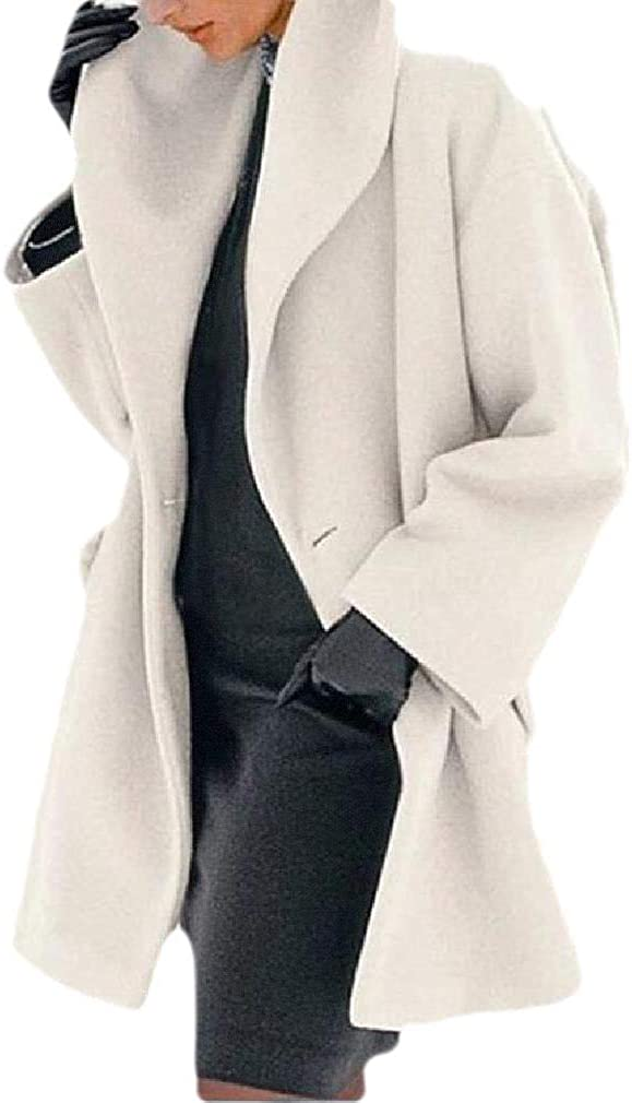 Women's Fall Winter Solid Color Loose Fit Plus Size Lapel Trench Pea Coat Outerwear