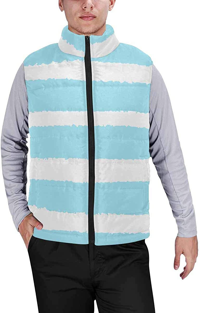 InterestPrint Men's Outdoor Casual Stand Collar Padded Vest Coats British Fabric Pattern
