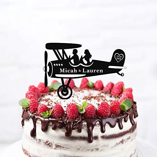 Rustieke Vintage Vliegtuig Silhouette Bruiloft Taart Topper, Gepersonaliseerde Naam Taart Topper,Mr &Mrs Bruiloft Topper met Bruid en Groom voor Verjaardag
