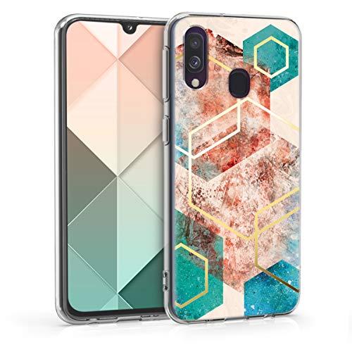kwmobile Cover Compatibile con Samsung Galaxy A40 - Back Case Custodia in Silicone TPU Cover Trasparente Glory Hexagon Oro Rosso Turchese