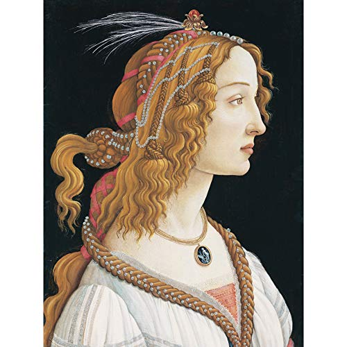 Sandro Botticelli Portrait Young Woman Painting Premium Wall Art Canvas Print 18X24 Inch Arena Retrato Joven Mujer Pintura Pared