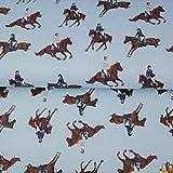 Stenzo Jersey Stoffe Pferde Bibi hellblau 1,00m x VB