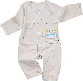 Xifamniy Infant Baby Long Sleeve Romper Cartoon Crab and Rain Print Baby Cute Jumpsuit Gray