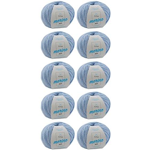 MyOma Wolle zum Häkeln - 10 Knäuel Merino Wolle eisblau (Fb 82677) - hell Blaue Wolle Stricken - Merino Mix Wolle + GRATIS Label - 50g/120m Wolle - weiche Wolle - Mischwolle Stricken