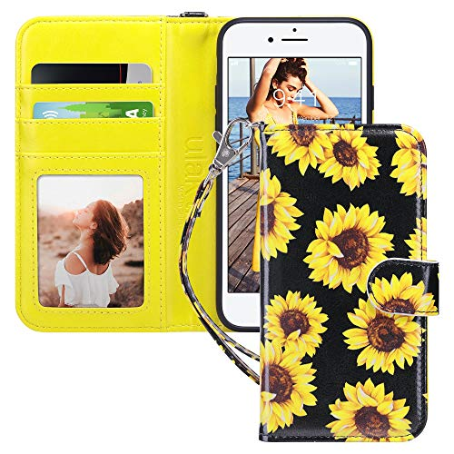 ULAK iPhone 8 Wallet, iPhone SE Wallet 2020, iPhone 7 Flip Wallet Case, PU Leather Wallet Kickstand Card Holder Shockproof Protective Cover for iPhone 7/8/Phone SE 2nd Generation 4.7 inch, Sunflower