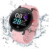 Smartwatch IP68 Montre Connectée Fitness Tracker Watch Sport Podometre Cardiofréquencemètre Montre de Sommeil pour Enfants Femmes Hommes Compatibles Android iPhone Smartphone (Rose)